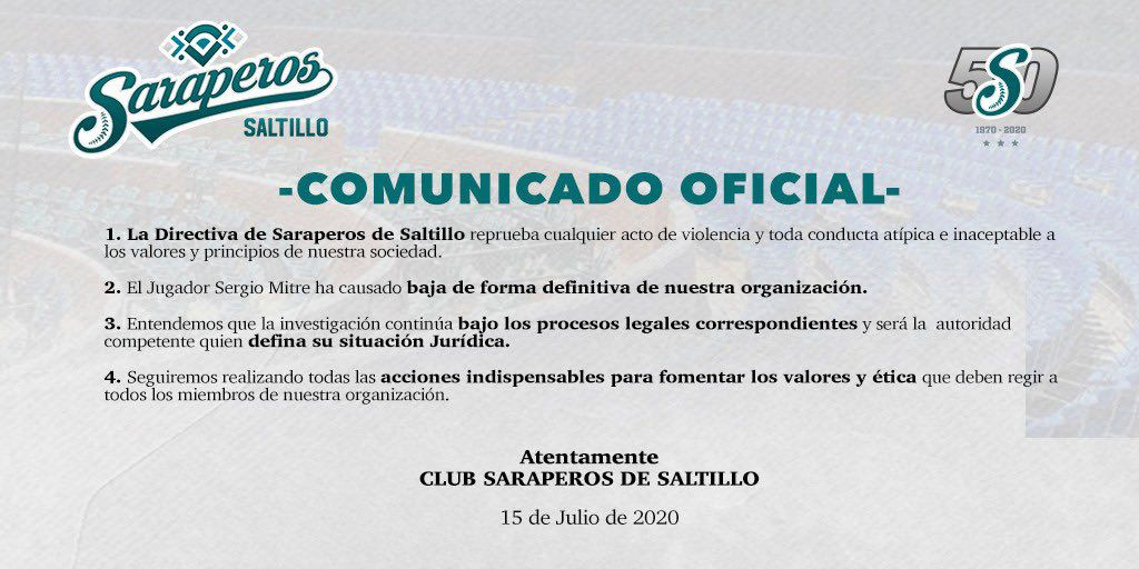 """El club señaló que """"reprueba cualquier acto de violencia"""" (Foto: Saraperos de Saltillo)"""