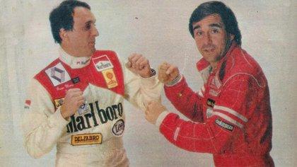 """Simulando una pelea con Osvaldo """"Cocho"""" López. Fue en 1986."""
