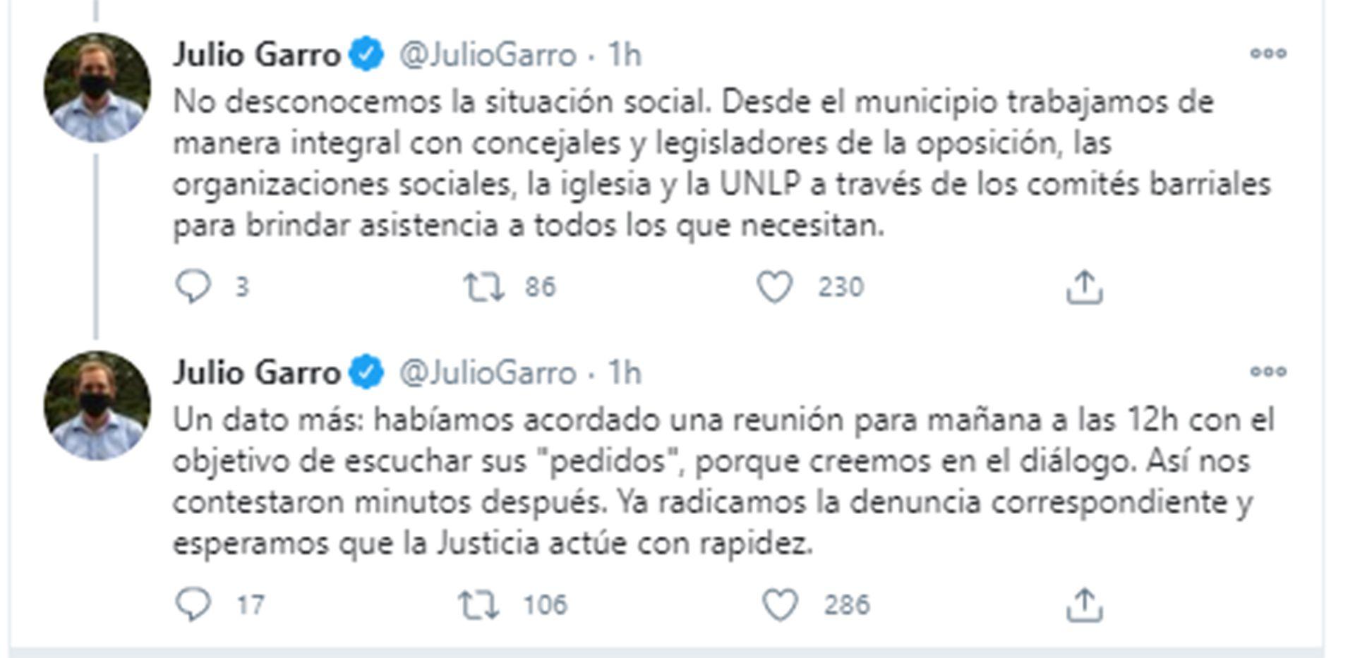 Tuits Julio Garro