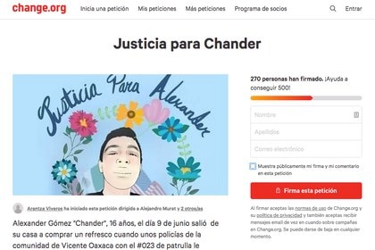 Petición para pedir justicia por el homicidio de Alexander M., en change.org