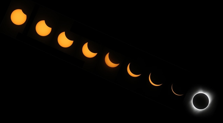 El eclipse solar total que se observó en EEUU en 2017 (Getty Images)