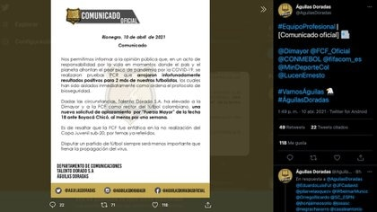 Rionegro Águilas emitió un comunicado en donde solicita aplazar su partido contra Boyacá Chicó por la fecha 17 de la Liga BetPlay I 2021, debido al aumento de casos de covid-19 en su plantel / (Twitter: @AguilasDoradas).