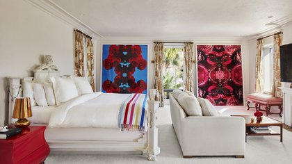 The bed that Alan Faena had was in the Spanish colonial style and the bedding and curtains were customized especially for him (Photos by Benjamin Lozovsky and David Prutting for BFA)