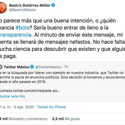 Beatriz Gutiérrez Müller exigió transparencia a Twitter México (Foto: Twitter)