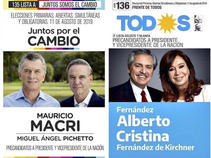 Las boletas de los dos partidos con más chances en la elección de mañana