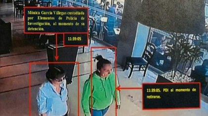 La PGJCDMX difundió algunas imágenes del momento en que Mónica García Villegas fue aprehendida por el jefe general de la Policía de Investigación, Bernardo Gómez del Campo, en un restaurante Toks al sur de la Ciudad de México (Foto: Especial)
