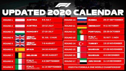 El nuevo calendario de la Fórmula 1 (@F1)