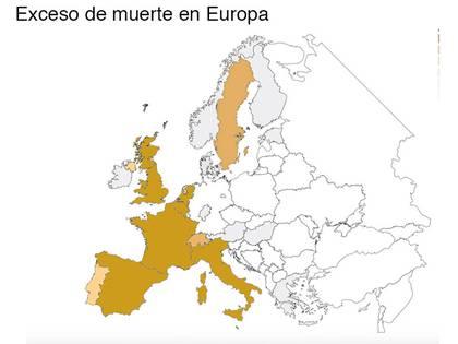 La red de epidemiólogos EuroMOMO destacó con la intensidad de los colores la cantidad de muertes por COVID-19 en Europa.