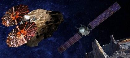La concepción de un artista muestra la nave espacial Lucy volando por el troyano Eurybates, uno de los seis asteroides troyanos que se estudiarán. A la derecha, el orbitador Psyche mapeará el enorme objeto del cinturón de asteroides 16 Psyche (Foto cortesía de SwRI y SSL / Peter Rubin)