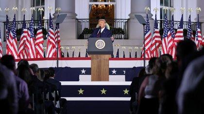 Trump durante su discurso en la convención republicana.  REUTERS / Carlos Barria