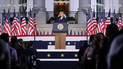 Trump durante su discurso en la convención republicana. REUTERS/Carlos Barria