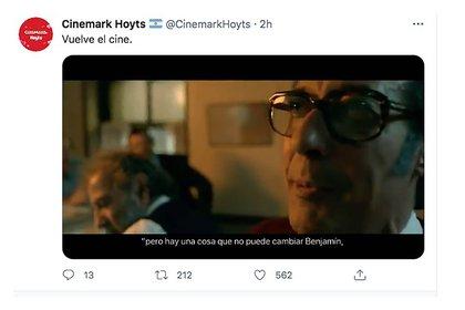 El tuit que promueve la reapertura de los cines (Foto: Twitter @cinemarkhoyts)