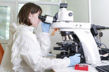 Una investigadora trabaja en el desarrollo de la vacuna Sputnik V