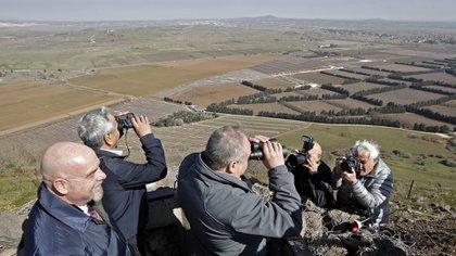Aivgdor Lieberman, ministro de defensa Israelí, durante una visita a los Altos del Golán (JALAA MAREY / AFP)