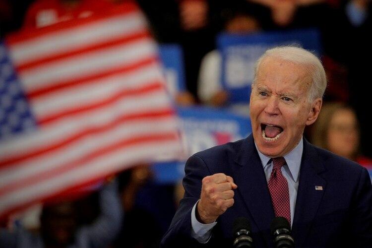 Joe Biden durante una acto de campaña en Detroit. Se encamina hacia la nominación demócrata. ¿Dice que quiere que su vicepresidente sea