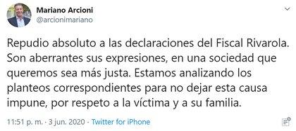 El mensaje del gobernador de Chubut en las redes sociales