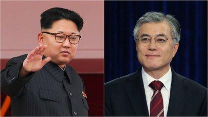 Kim Jong-un y Moon Jae-in, los líderes de Corea del Norte y del Sur.