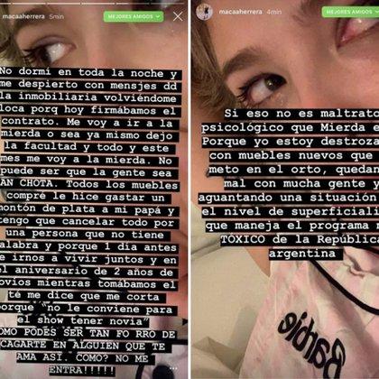 Los posteos que salieron de la cuenta de Macarena Herrera (Instagram)