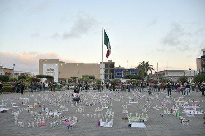 Manifestación en Tepic por el feminicidio de Diana Raygoza (Foto: Twitter@JulietaMejia)