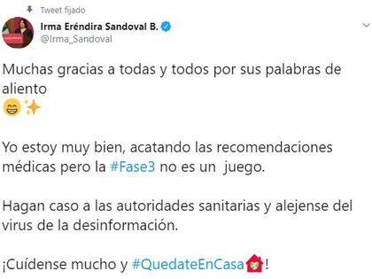 La secretaria se reportó vía Twitter con un excelente estado de salud y espera reincorporarse a sus actividades muy pronto (Foto: Twitter / @Irma_Sandoval)