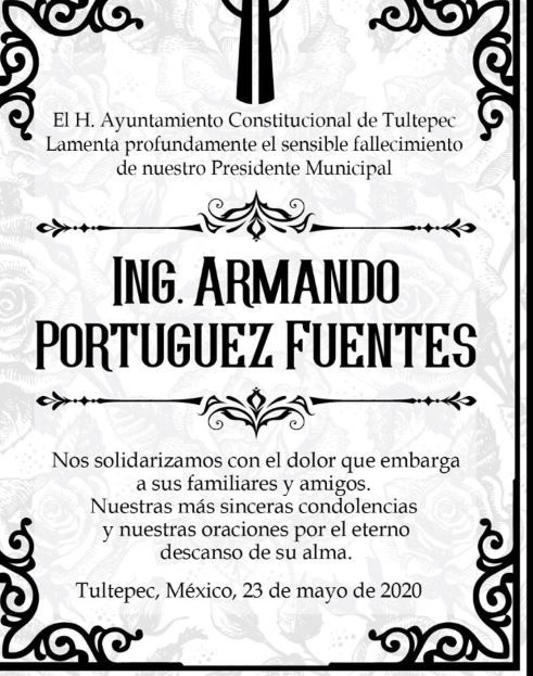 El Ayuntamiento confirmó el deceso y envió sus condolencias. (Foto: Tomada de Facebook)