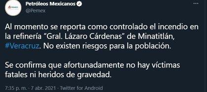 (Captura de pantalla: Twitter/@Pemex)