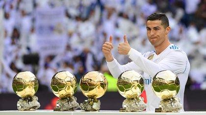 Cristiano Ronaldo ganó cinco Balones de Oro (AFP)