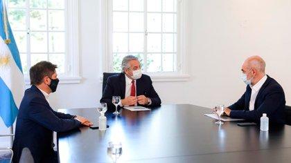 Fernández recibió ayer a Rodríguez Larreta y a Axel Kicillof