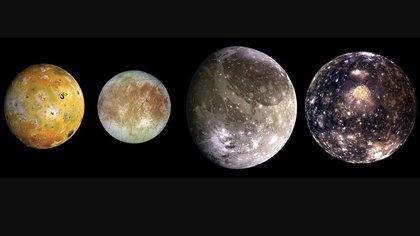 Las cuatro lunas más grandes de Júpiter por distancia de Júpiter: Io, Europa, Ganímedes y Calisto (NASA)