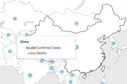 Casos confirmados y muertes por COVID-19 en China al 15 de mayo (Foto: Organización Mundial de la Salud)
