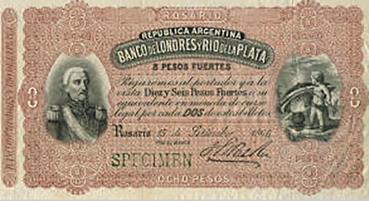 Otra rareza: un San Martín irreconocible en un billete de 8 pesos del Banco de Londres y Río de la Plata fechado en la ciudad de Rosario
