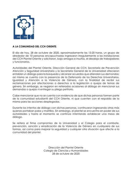 El comunicado de la UNAM aseguró que las encapuchadas no informaron su pliego petitorio, sin embargo trascendió que están en contra de la reelección del director del CCH y la falta de acciones contra la violencia de género  (Foto: CCH Oriente)