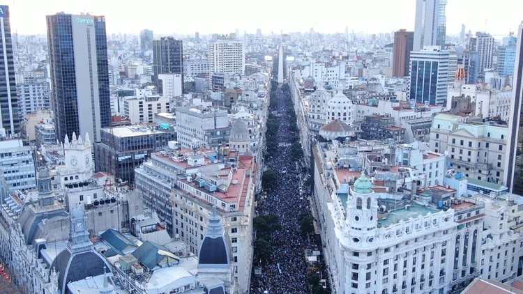 El centro porteño fue escenario de una gran concentración de simpatizantes de Juntos por el Cambio