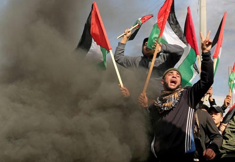 Protesta de palestinos en la Franja de Gaza durante la presentación del