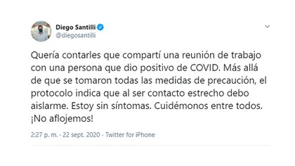 El mensaje que publicó Santilli en sus redes sociales