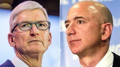 Tim Cook -CEO de Apple- y Jeff Bezos -fundador de Amazon-