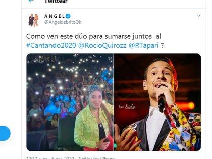 Ángel De Brito deslizó la posibilidad de que Rocío Quiroz se sume al Cantando 2020 junto a Rodrigo Tapari, ex líder de Ráfaga