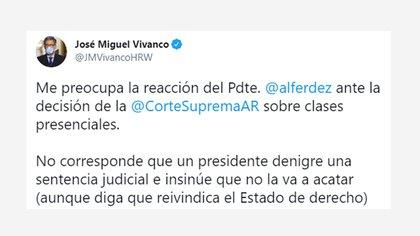 El tuit de José Miguel Vivanco, director de Human Rights Watch
