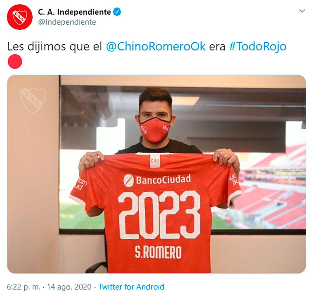 Silvio Romero Independiente tuit