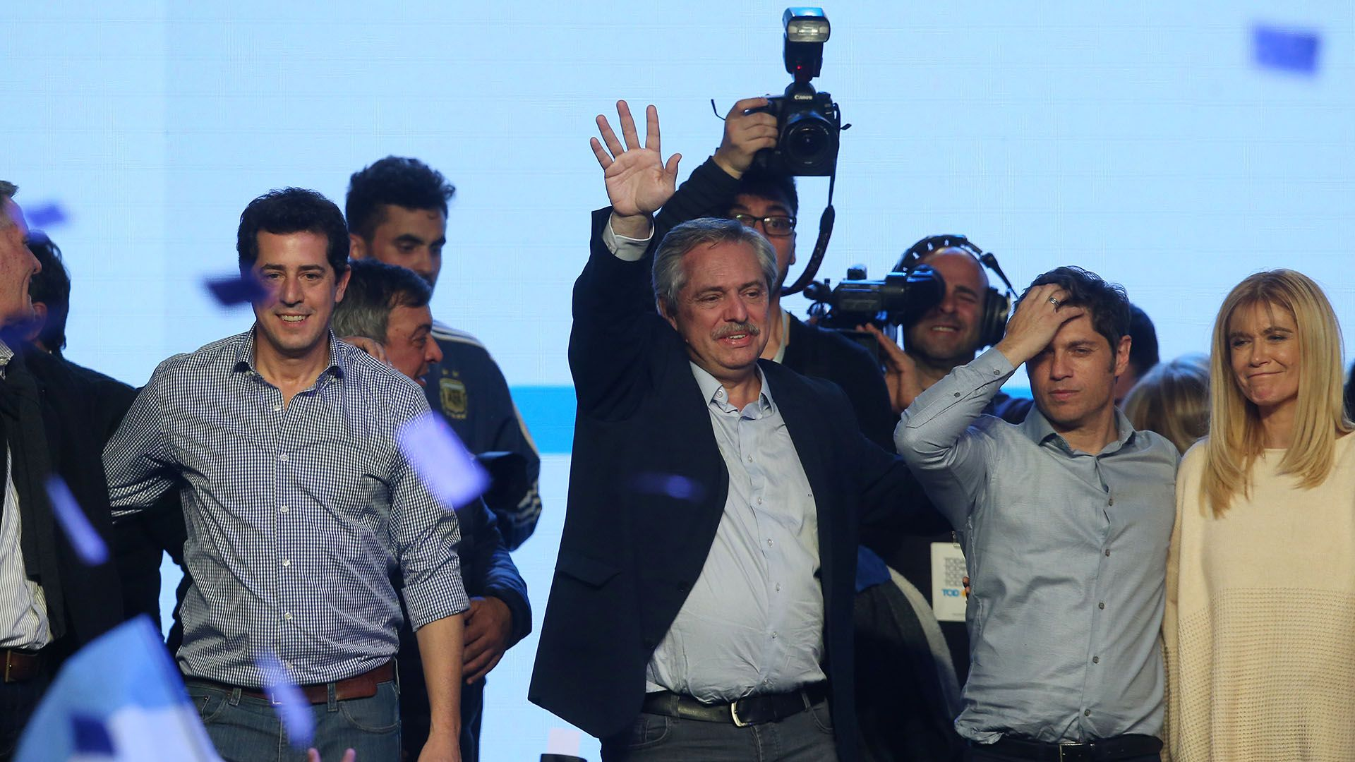 Wado De Pedro, Alberto Fernández, Axel Kicillof y Verónica Magario (REUTERS/Agustin Marcarian)