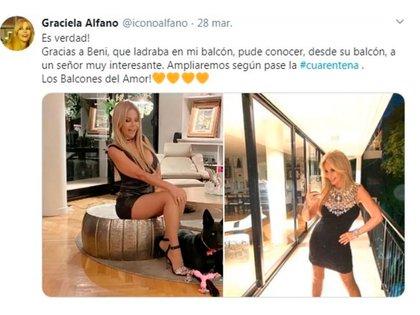 """El tuit de Alfano contando que había conocido a un """"señor interesante"""" desde su balcón"""
