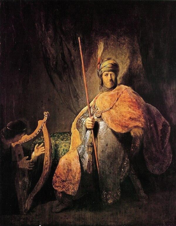 """""""Saúl toca el harpa para David"""", de Rembrandt"""