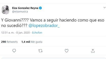 Eiza González reclamó a AMLO por la desaparición del joven Giovanni, lo que le valió recibir numerosas críticas en las redes sociales (Captura de Pantalla: Twitter @eiza musica)