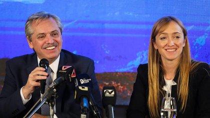Alberto Fernández compartió la conferencia de prensa junto a la senadora Anabel Fernández Sagasti, que también es precandidata a gobernadora de Mendoza