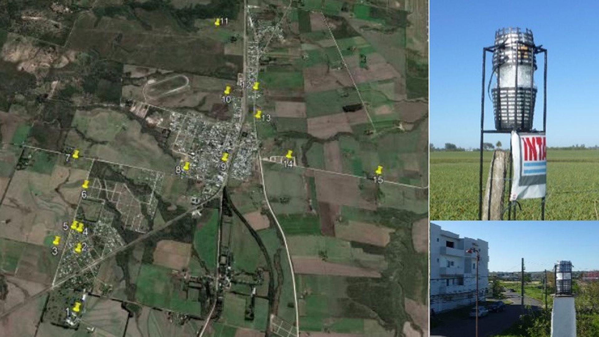 El mapa de la zona en Entre Ríos donde se detectaron agroquímicos en el aire (FAUBA)