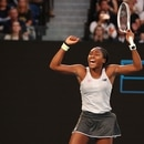 Tennis - Australian Open - Third Round - Melbourne Park, Melbourne, Australia - January 24, 2020. Cori Gauff of the U.S. celebrates after the match against Japan's Naomi Osaka. REUTERS/Hannah Mckay