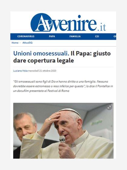 El diario Avenire sobre el respaldo del papa Francisco a la unión civil entre personas del mismo sexo