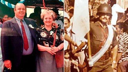 Hebe, la madre del teniente Berdina (derecha, como abanderado del Regimiento de Infantería del Monte, en una de sus últimas fotos), con Alejandro, el hermano, en la inauguración de una escuela con su nombre en Tartagal, Salta.