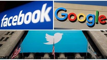 FOTO DE ARCHIVO: Los logotipos de Facebook, Google y Twitter en esta foto combinada de los archivos de Reuters. REUTERS