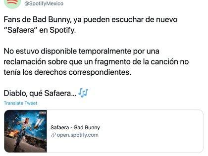 """Spotify confirmó que """"Safaera"""" ya estaba en su catálogo de nuevo (Foto: Captura de pantalla)"""
